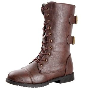 West Blvd Cairo Lace Up Combat Boots Brown NEW